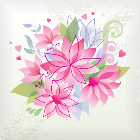 Pink flower with heart.  Vector