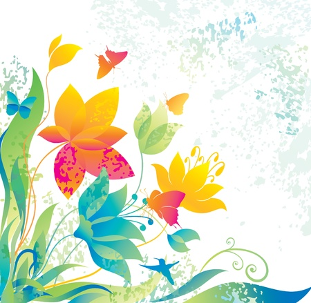 Beautiful flower background with butterfly and colibri.  Vector