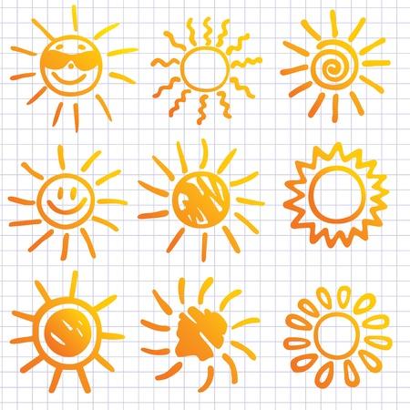 Suns . Elements for design. Doodles. Stock Vector - 9718176