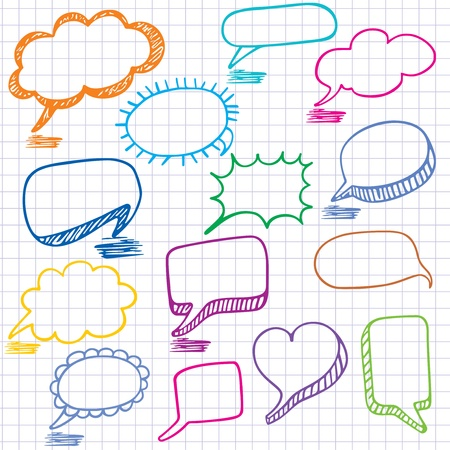 Bubbles for speech. Seamless doodle background. Stock Vector - 9718171