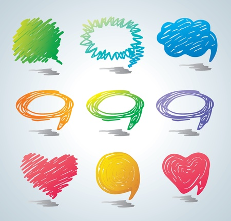 Bubbles for speech. Doodle background.  Stock Vector - 9720713