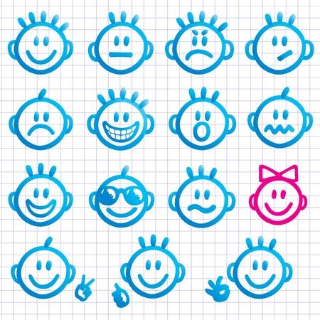 Set of faces with various emotion expressions.  Illusztráció