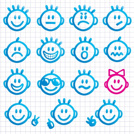 scribble: Set of faces with various emotion expressions.  Illustration