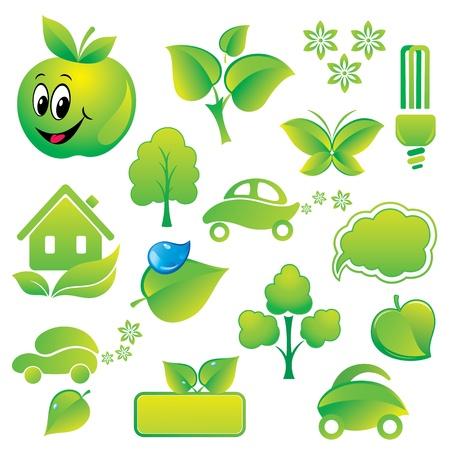 antipollution: Conjunto de iconos de medio ambientales y elementos de dise�o verdes.