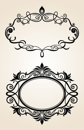 Vintage  frame.  Set. Illustration