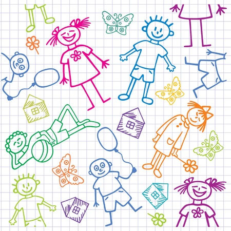 Childrens drawings. Seamless background.