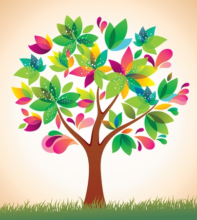 Beautiful colorful tree. Stock Vector - 9722271