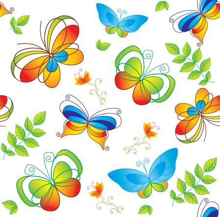 insect on leaf: Colorful background with butterfly. Seamless.  Illustration