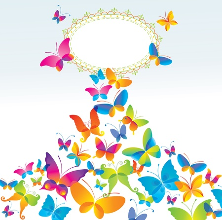 Colorful background with butterfly.  Ilustra��o