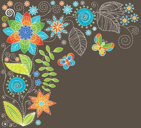 Floral background with butterfly.  Vector
