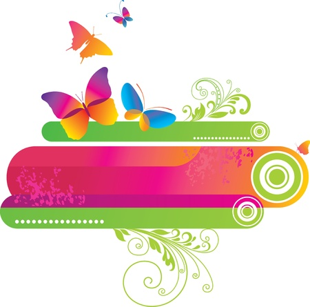 Colorful background with butterfly.  Illustration