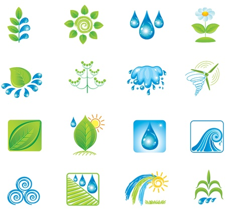 sun drop: Environment. Set of design elements and icons.  Illustration