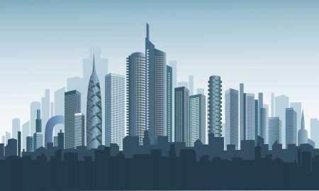 メトロポリス: 近代的な都市のパノラマ。美しい背景。