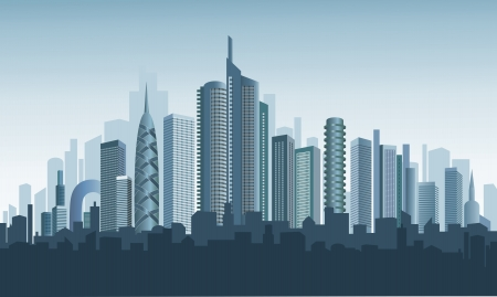 Panorama of modern city. Beautiful background.  Vector