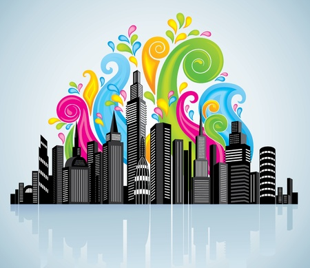 Colorful panorama city.  Vector
