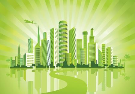 небоскребы: Зеленый Город. Городской фон. Окружающей среды. Иллюстрация
