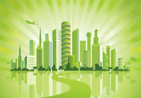 town modern home: Green City. Urban background. Environment.  Illustration