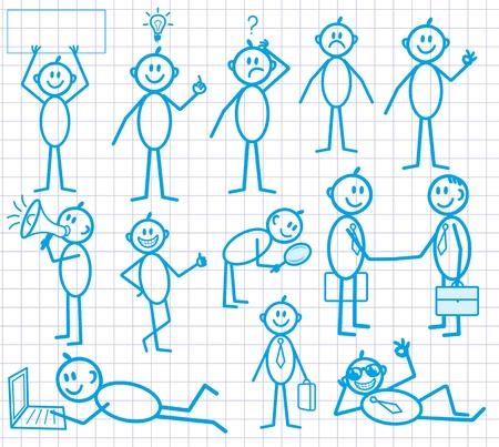 empresario triste: Serie de dibujos animados hombre poco raro con expresiones diversas emociones. NEGOCIOS