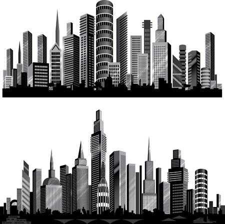 De beste stad silhouetten. Instellen.