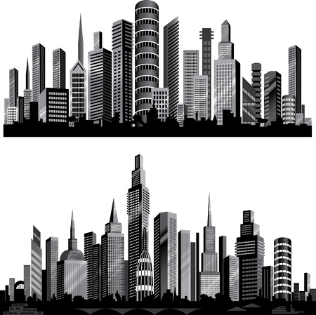 The best City silhouettes. Set.  Vector