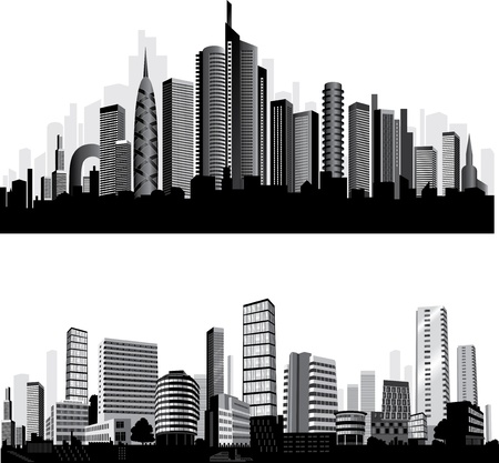 panoramic view: The best City silhouettes. Set.