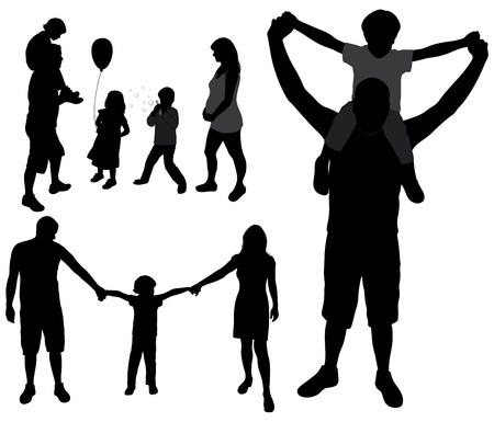 mom son: Set of family silhouettes. Illustration
