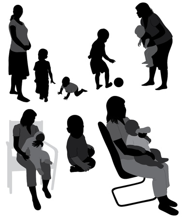 Set of family silhouettes. Vector