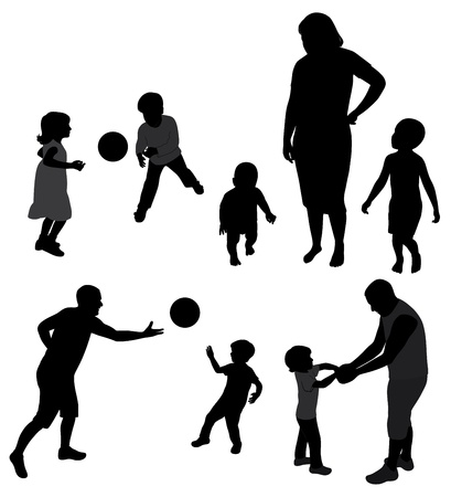 Set of family silhouettes. Stock Vector - 10774618
