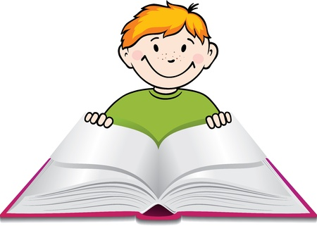 Boy reads a book.  Vector