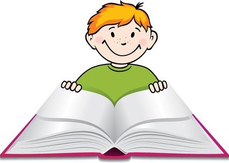 Boy reads a book.  Vector