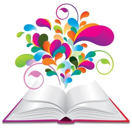 splash sinas: Open boek met kleuren spatten.