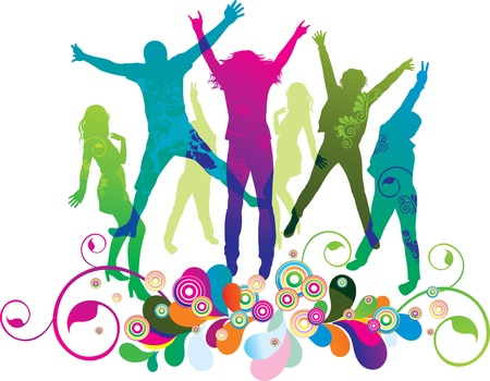 jumps: Young people on the party . The dancing teenagers.  Illustration