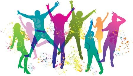 je�ne: Les jeunes sur le parti. Les adolescents dansant.