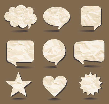Speech bubbles and sample shapes from the crumpled paper.  Vector
