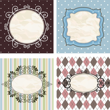 Vintage frames on the old fabric. Set.  Vector