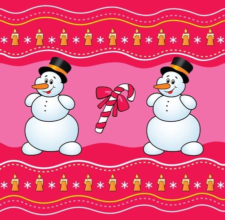 Christmas background with snowman and candy.  Vector