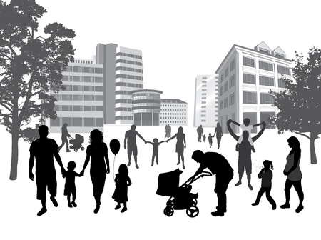 Families walking in the town. Lifestyle ,urban background.  Illustration