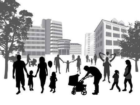 Las familias que caminan en la ciudad. Estilo de vida, fondo urbano.