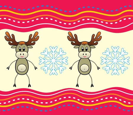 Christmas background with a deer.  Vector