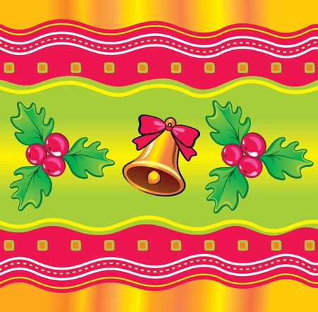 Christmas background with holly berry and bell. Seamless.  Vector