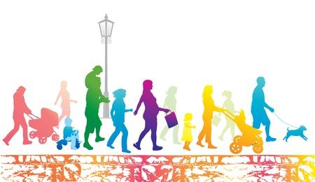 Lifestyle in de stad. Wandelen people.Urban scène. Vector Illustratie