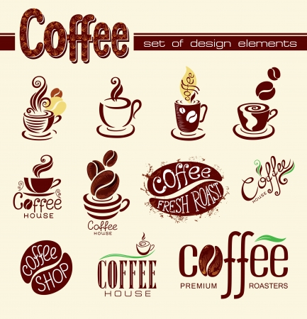 Set of coffee design elements or icons  Vector
