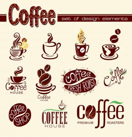 coffee beans: Set van koffie design elementen of pictogrammen