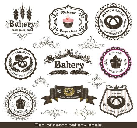 bakery sign: Juego de etiquetas de panader�a cl�sicos retro Vectores