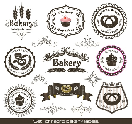 baked goods: Set of vintage retro bakery labels