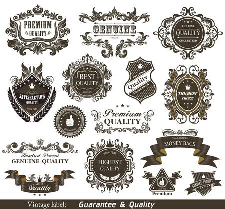 zufriedenheitsgarantie: Jahrgang Styled Premium-Qualit�t und Zufriedenheitsgarantie Label- Illustration