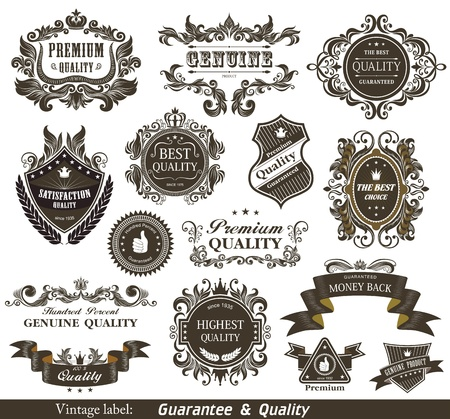 Vintage Styled Premium Quality and Satisfaction Guarantee Label   Vector