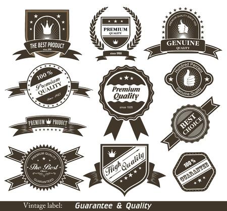 zufriedenheitsgarantie: Vintage Styled Premium-Qualit�t und Zufriedenheitsgarantie Etiketten