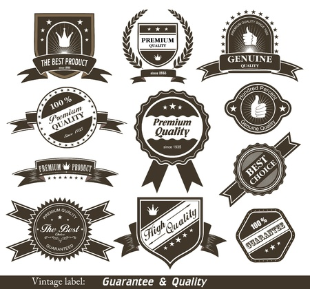 gratification: Vintage Styled Premium Quality and Satisfaction Guarantee Label   Illustration