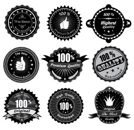 zufriedenheitsgarantie: Jahrgang Styled Premium-Qualit�t und Zufriedenheitsgarantie Label-Schwarz-Wei�-Design